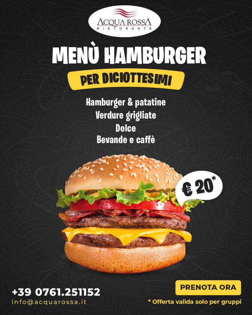 Menu hamburger per diciottesimi